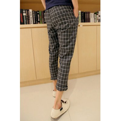 Гаджет   Casual Style Slimming Plaid Print Narrow Feet Cotton Nine Minutes Pants For Men Pants