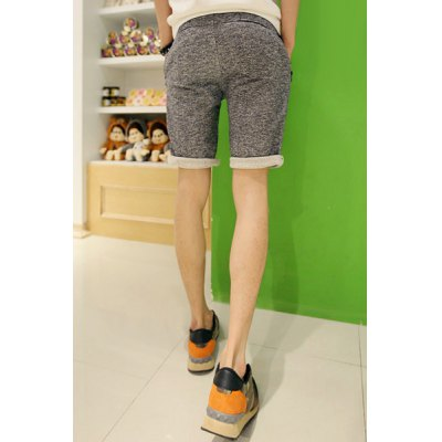 Гаджет   Casual Style Slimming Purfled Straight Leg Cotton Shorts For Men