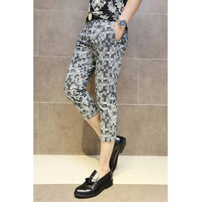 Гаджет   Casual Style Slimming Mosaic Print Narrow Feet Cotton Cropped Pants For Men