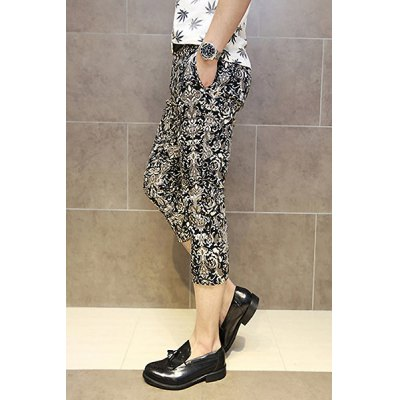Гаджет   Casual Style Slimming Full Ethnic Print Narrow Feet Cotton Cropped Pants For Men Pants
