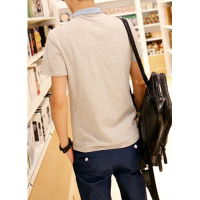 Гаджет   Retro Style Turn-down Collar Pocket Embellished Short Sleeves Cotton Polo Shirt For Men