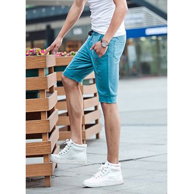 Гаджет   Slimming Trendy Lace-Up Solid Color Multi-Pocket Straight Leg Cotton Shorts For Men Shorts