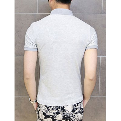 Гаджет   Stylish Turn-down Collar Solid Color Design Short Sleeves Men