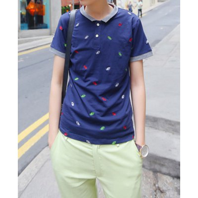 Гаджет   Stylish Turndown Collar Slimming Fishbone Embroidered Short Sleeve Men