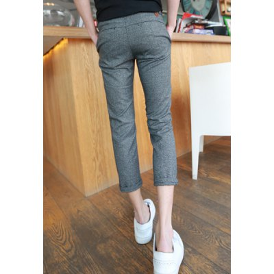 Гаджет   Slimming Trendy Tiny Checked Narrow Feet Cotton Nine Minutes of Pants For Men Pants