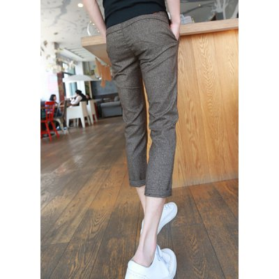 Гаджет   Slimming Trendy Tiny Checked Narrow Feet Cotton Nine Minutes of Pants For Men