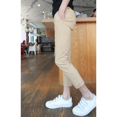 Гаджет   Slimming Trendy Solid Color Narrow Feet Cotton+Linen Nine Minutes of Pants For Men Pants