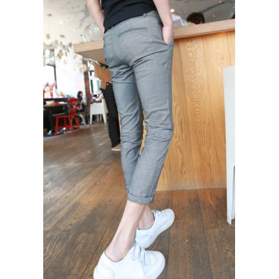 Гаджет   Slimming Trendy Checked Button Design Narrow Feet Cotton Nine Minutes of Pants For Men Pants