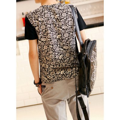 Гаджет   Ethnic Style Round Neck Tiny Floral Print Short Sleeves Cotton T-shirt For Men T-Shirts