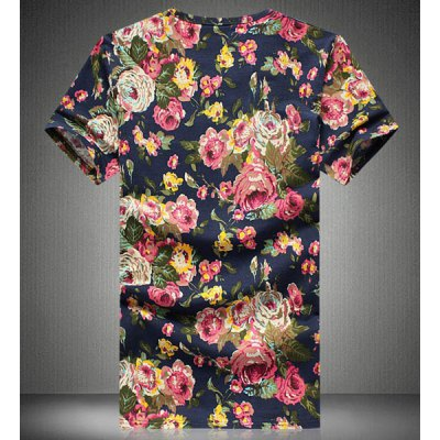 Гаджет   Fashion Style Round Neck Slimming Floral Print Short Sleeves Cotton T-shirt For Men