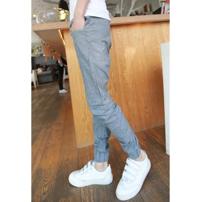 Гаджет   Slimming Trendy Lace-Up Checked Pocket Design Narrow Feet Cotton+Linen Pants For Men