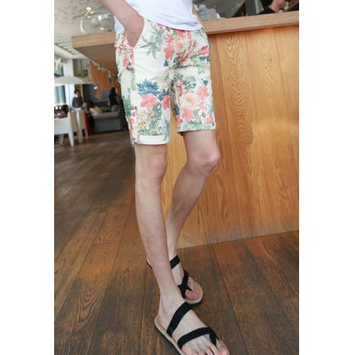 Slimming Trendy Colorful Floral Print Straight Leg Cotton Shorts For Men