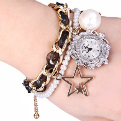 Unique Design Watch with Stars and Artificial Pearl Chain Band for Women