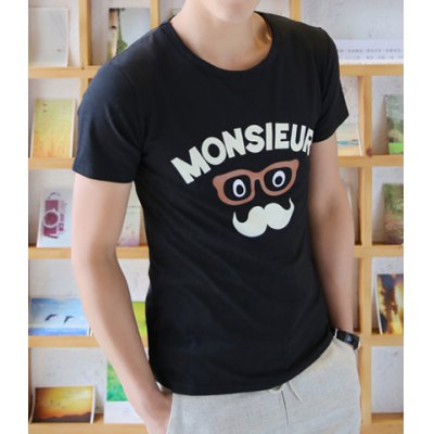 Fashion Style Round Neck Glasses Print Short Sleeves Polyester T-shirt For Men