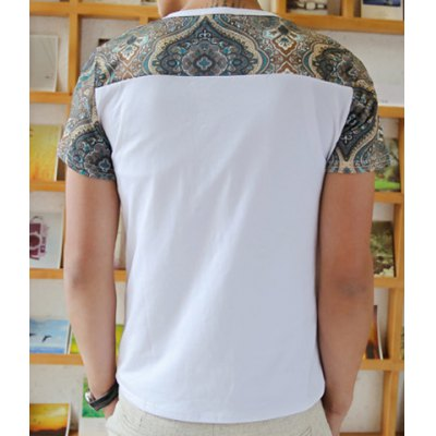 Fashion Style Round Neck Floral Print Splicing Short Sleeves Polyester T-shirt For Men