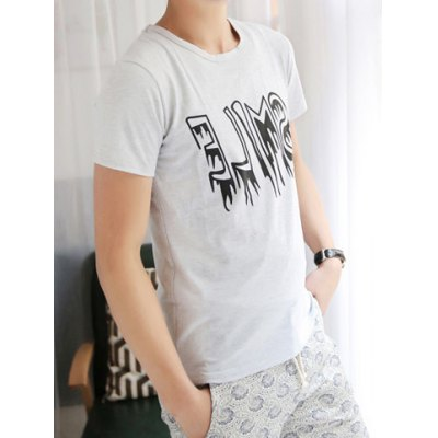 Fashionable Style Round Neck Letter Print Short Sleeves Polyester T-shirt For Men
