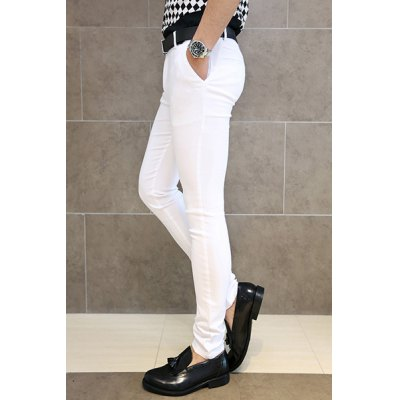 Гаджет   Fashion Style Solid Color Slimming Narrow Feet Cotton Pants For Men