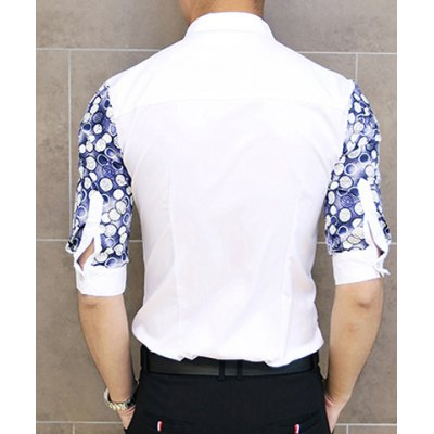 Гаджет   Fashion Style Turn-down Collar Polka Dot Print 3/4 Sleeves Cotton Shirt For Men Shirts