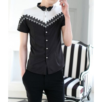 Гаджет   Stylish Stand Collar Slimming Lace Design Hit Color Splicing Short Sleeve Men