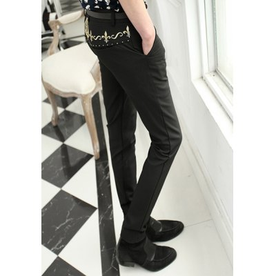Гаджет   Slimming Trendy Embroidered Design Narrow Feet Polyester Pants For Men