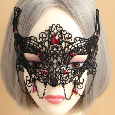 Chic Faux Gemstone Decorated Openwork Lace Mask For Women
