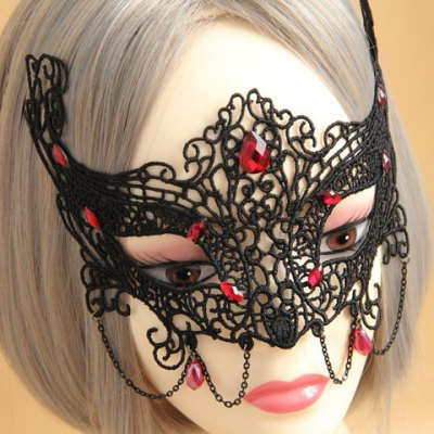 Retro Faux Gemstone Decorated Openwork Lace Mask For Women