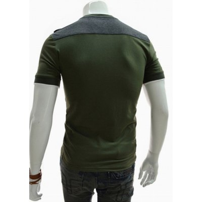 ФОТО Fashion Style Round Neck Slimming Color Block Short Sleeves Men