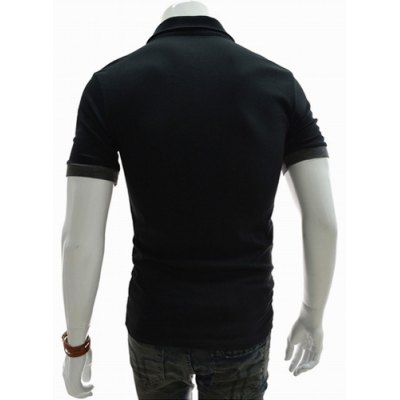 Гаджет   Fashion Style Turn-down Collar Color Splicing Cuffs Short Sleeves Men