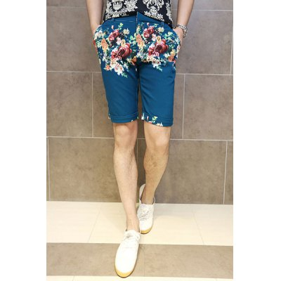 Slimming Trendy Colorful Flowers Print Straight Leg Polyester Shorts For Men