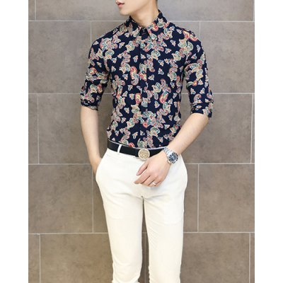 Гаджет   Stylish Shirt Collar Slimming Colorful Paisley Print 3/4 Length Sleeve Men