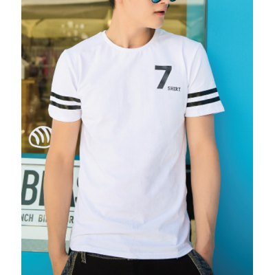 Гаджет   Fashion Style Round Neck Number Letter Print Short Sleeves Cotton T-shirt For Men T-Shirts