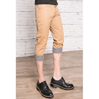 Гаджет   Slimming Trendy Checked Flanging Straight Leg Cotton Capri Pants For Men Pants