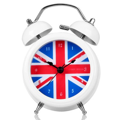 Fashion Twin Bells Alarm Clock Analog with UK National Flag Design Round Dial