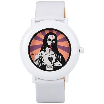 Fashion Women Watch Analog with Jesus Design Round Dial Leather Watch Band