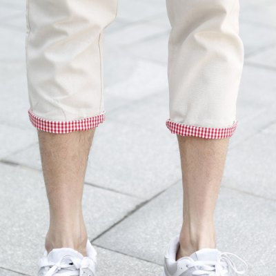 Гаджет   Slimming Trendy Lace-Up Checked Flanging Straight Leg Linen Nine Minutes of Pants For Men Pants