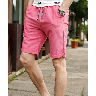 Гаджет   Slimming Trendy Lace-Up Candy Color Straight Leg Linen Shorts For Men Shorts