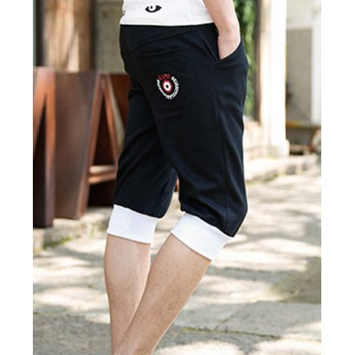 Гаджет   Slimming Trendy Lace-Up Letter Print Hit Color Splicing Beam Feet Cotton Capri Pants For Men