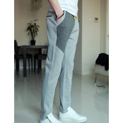 Slimming Trendy Lace-Up Hit Color Splicing Narrow Feet Cotton Sweatpants For Men