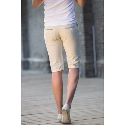 Гаджет   Slimming Trendy Elastic Waist Color Block Design Straight  Leg Men