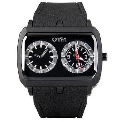 Гаджет   Stylish Men Watch Analog with Rectangle Dial Rubber Watch Band Men
