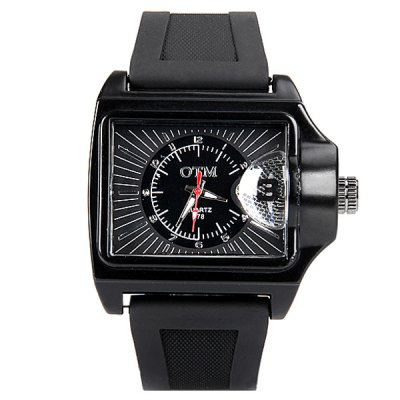 Stylish Men Watch Analog with Rectangle Dial Silicone Watch BandMens Watches<br>Stylish Men Watch Analog with Rectangle Dial Silicone Watch Band<br><br>Watches categories: Male table<br>Watch style: Fashion<br>Movement type: Quartz watch<br>Shape of the dial: Rectangle<br>Display type: Pointer<br>Case material: Stainless steel<br>Band material: Silica gel<br>Clasp type: Pin buckle<br>The dial thickness: 1.4 cm / 0.6 inch<br>The dial diameter: 3.7 cm / 1.5 inch<br>Product weight: 0.1 kg<br>Product size (L x W x H): 25.3 x 4.9 x 1.0 cm / 10.0 x 1.5 x 0.6 inches<br>Package Contents: 1 x Watch