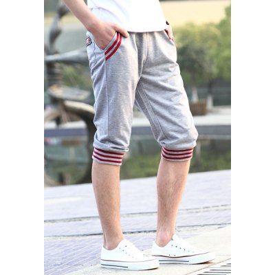 Гаджет   Slimming Trendy Lace-Up Hit Color Stripe Splicing Beam Feet Cotton Capri Pants For Men Pants