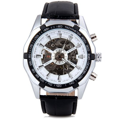 Winner Popular Men Hollow Mechanical Watch with Analog Round DialMechanical Watches<br>Winner Popular Men Hollow Mechanical Watch with Analog Round Dial<br><br>Brand: Winner<br>Watches categories: Male table<br>Watch style: Fashion<br>Movement type: Mechanical watch<br>Shape of the dial: Round<br>Display type: Pointer<br>Case material: Stainless steel<br>Band material: Leather<br>Clasp type: Pin buckle<br>Water Resistance: Life waterproof<br>The dial thickness: 1.3 cm / 0.5 inch<br>The dial diameter: 4.5 cm / 1.8 inch<br>Product weight: 0.082 kg<br>Product size (L x W x H): 25.5 x 4.5 x 1.3 cm / 10.0 x 1.8 x 0.5 inches<br>Package Contents: 1 x Watch