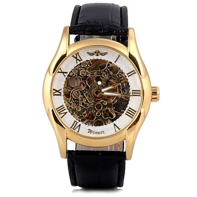 ФОТО Winner Unique Waterproof Men Hollow Mechanical Watch with Analog Round Dial