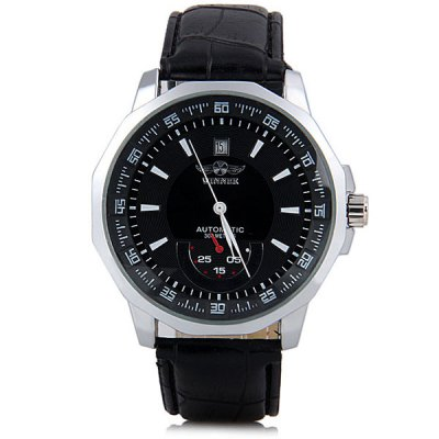 Winner Men Hollow Mechanical Watch with Leather WatchbandMechanical Watches<br>Winner Men Hollow Mechanical Watch with Leather Watchband<br><br>Brand: Winner<br>Watches categories: Male table<br>Watch style: Fashion<br>Movement type: Mechanical watch<br>Shape of the dial: Round<br>Display type: Pointer<br>Case material: Stainless steel<br>Band material: Leather<br>Clasp type: Pin buckle<br>Special features: Decorating small one stitch, Date<br>Water Resistance: Life waterproof<br>The dial thickness: 1.2 cm / 0.5 inch<br>The dial diameter: 4.4 cm / 1.7 inch<br>Product weight: 0.073 kg<br>Product size (L x W x H): 25.3 x 4.4 x 1.2 cm / 10.0 x 1.7 x 0.5 inches<br>Package Contents: 1 x Watch