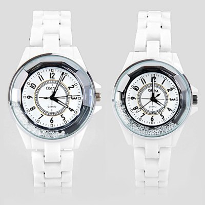Stylish Waterproof Couple Watch Analog with Beads Design Round Dial Ceramic Watch BandWatches &amp; Jewelry<br>Stylish Waterproof Couple Watch Analog with Beads Design Round Dial Ceramic Watch Band<br><br>Watches categories: Couple tables<br>Watch style: Fashion<br>Shape of the dial: Round<br>Movement type: Quartz watch<br>Display type: Pointer<br>Case material: Stainless steel<br>Band material: Ceramic<br>Clasp type: Buckle<br>Water Resistance: Life waterproof<br>The male watch weight: 0.081 kg<br>The male watch size (L x W x H): 22.0 x 3.7 x 1.2 cm / 8.7 x 1.5 x 0.5 inches<br>The female watch weight: 0.06 kg<br>The female size (L x W x H): 20.5 x 3.2 x 1.2 cm / 8.1 x 1.3 x 0.5 inches<br>Package contents: 2 x Watch