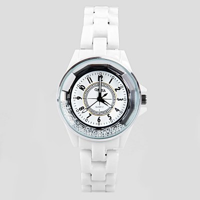 Гаджет   Stylish Women Watch Analog with Beads Design Round Dial Ceramic Watch Band