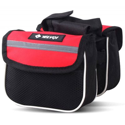 Multilayer Bicycle Bag Top Tube Saddle Bag Tube Double Side Bag with Mobile Phone Pouch