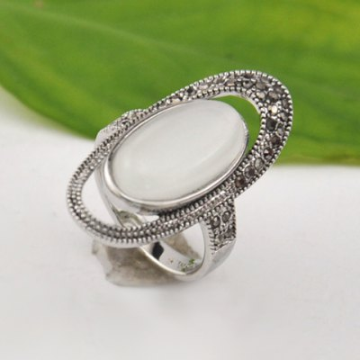 Openwork Opal Ellipse Ring