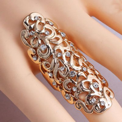 Diamante Openwork Flower Pattern Ring